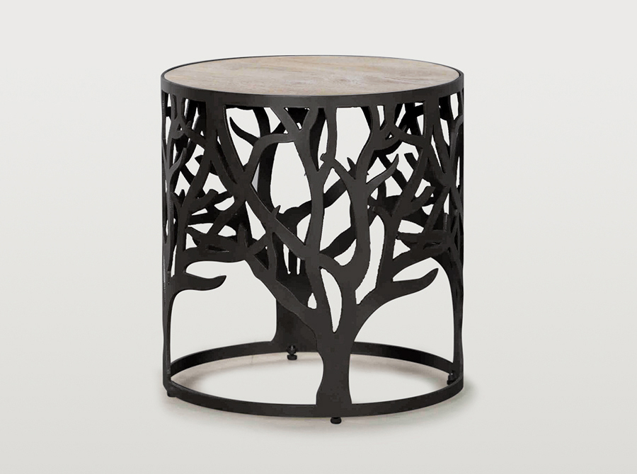 Tree of Life side table with white top